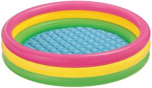 Бассейн для малышей отблеск заката, 3 кольца с надувным дном, 1-3 года, арт.58924NP фото