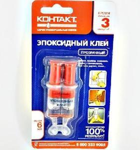 Эпоксидный клей КОНТАКТ прозрачный, 6мл КЭ288-Б06ШП арт.12051 фото