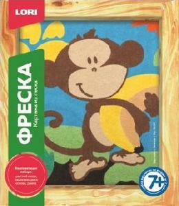 """Фреска. Картина из песка """"Мартышка с бананом"""" арт.Кп-047 фото"""