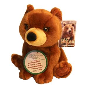 "Мягкая игрушка ""Wiki Zoo"" Медведь с обучающим чипом в 5 нажатий + мини энциклопедия 22 см арт.7579 фото"
