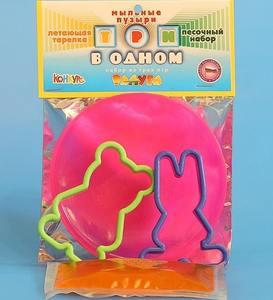 """Мыльные пузыри """"3 в 1""""(Тарелка, 2 формы, МП р-р) в пакете, арт.313 фото"""
