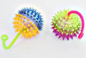 Мяч Ежик №Z0317 на резинке/d-6 /свет, звук/блок 24шт, арт.Z0317 фото