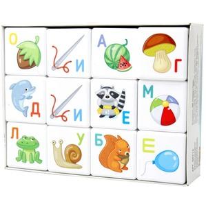 """Кубики """"Кубики для умников. Азбука"""" 12 шт (без обклейки), арт.00712 фото"""