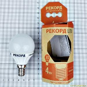 Лампа светодиодная РЕКОРД LED P45 4W E14 3000K, арт.22320 фото
