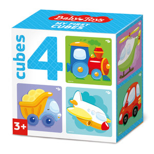 """Кубики """"Транспорт"""" (без обклейки) 4 шт Baby Toys, арт.03542 фото"""