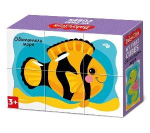 "Кубики ""Обитатели моря"" (без обклейки) 6 шт. BABY TOYS, арт.03532 фото"