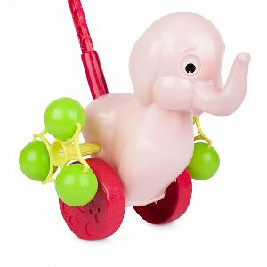 """Каталка на палочке """"Розовый слоненок"""", арт.9272 фото"""