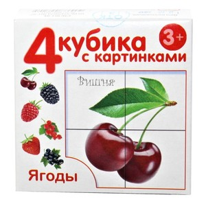 "Кубики с картинками ""Ягоды"" (без обклейки) 4 шт., арт.00720 фото"
