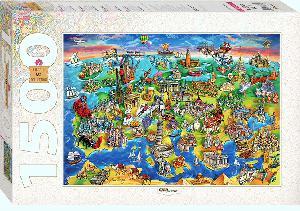 """Пазл 1500 """"Достопримечательности Европы"""" арт.83059 фото"""