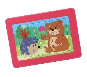 """Пазл в рамке """"Ежик и медведь"""" 6 эл. (14,5*10,5 см), арт.02893 фото"""