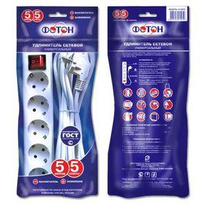 Удлинитель сетевой ФОТОН 16-55ES,5м,5 розеток,16А,с выкл,заземл., Белый арт.21209 фото