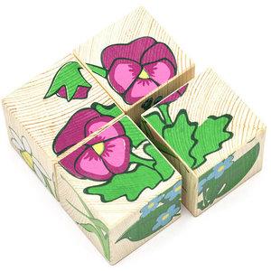 """Кубики (4 куб) """"Цветочки"""", арт.01331 фото"""