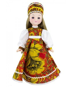 Кукла Василина хохлома м1 45см (Коробка ), арт.ЛЕН45-41 фото