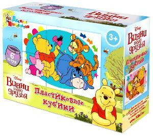"""Кубики """"Винни и его друзья"""" (без обклейки) 6 шт. Дисней, арт.03807 фото"""