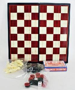"Шахматы магнитные ""Играем вместе"" 4 в 1(шахматы,шашки,нарды,карты) арт.G049-H37012-R фото"