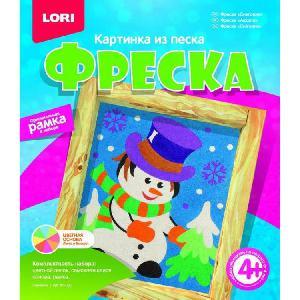 """Фреска. Картина из песка """"Снеговик"""" арт.Кп-026  фото"""