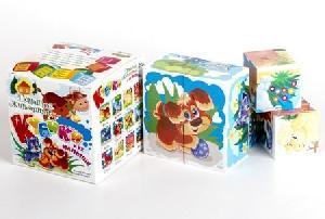 """Кубики """"Домашние животные и их малыши"""" (без обклейки) 8 шт., арт.00698 фото"""