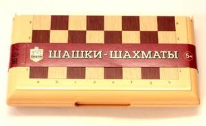 "Игра настольная ""Шашки-Шахматы"" в пласт.коробке (мал, беж) арт.03881 фото"