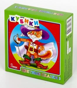 """Кубики """"Цветные сказки-3"""" (без обклейки) 9 шт., арт.00681 фото"""