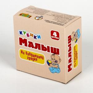 "Кубики Малыш ""На бабушкиной грядке"" (без обклейки) 4 шт, арт.00642 фото"