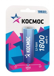 Аккумулятор Космос 18650 Li-ion 1800 mAh без защиты, 1 блистер, арт.KOC18650Li-ion18UBL1 фото