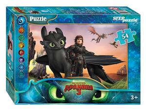 "Мозаика ""puzzle"" 54 ""Как приручить дракона - 3"" (DreamWorks), арт.71166 фото"