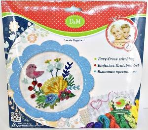 """Набор для вышивания крестиком """"Цветы и птицы"""" в голубой рамке, арт.57898 фото"""