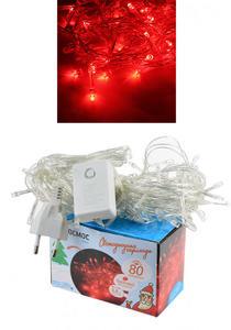 Светодиодная гирлянда КОСМОС 80 светодиодов, красный,  8,8 м, 8 режимов мигания, арт.KOC_GIR80LED_R фото