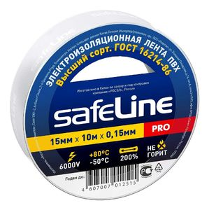 Изолента Safeline 15/10 белый арт.9358 фото