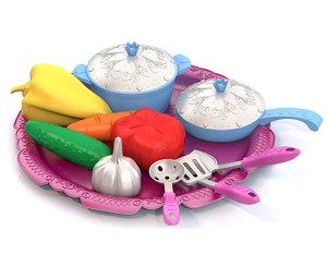 """Набор овощей и кухонной посуды """"Волшебная Хозяюшка"""" (12 предметов на подносе), арт.624 фото"""