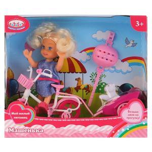 Кукла, ТМ Карапуз, Машенька 12см, в наборе велосипед с прицепом, питомец, арт.MARY016X-RU фото