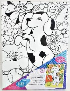 Роспись по холсту 100 цветов и 1 далматин  18*24 см , холст на рамке, арт.33208 фото