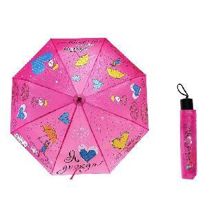 """Зонт раскладной механич. в чехле """"Я люблю дождь"""", d=108см арт.754712 фото"""