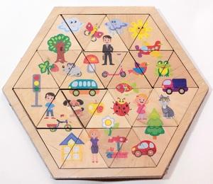 """Пазл деревянный """"Мир вокруг"""" (Занимательные треугольники), арт.00777 фото"""