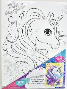 Роспись по холсту Волшебный единорог 18*24 см ,холст на рамке, арт.69621 фото
