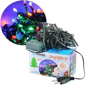 Светодиодная гирлянда КОСМОС 120 светодиодов, мультиколор,  12,8м, 8 режимов мигания, арт.KOC_GIR120 фото