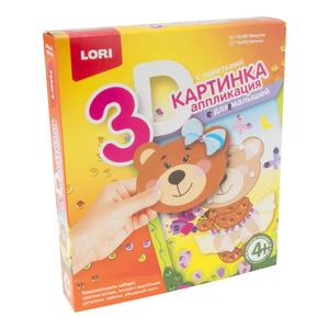 """Картинка 3D.Аппликация для малышей с пайетками """"Мишутка"""", арт.Пм-002 фото"""
