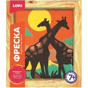 """Фреска. Картина из песка """"Африканские жирафы"""" арт.Кп-040 фото"""