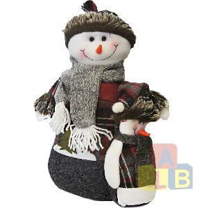 Снеговик 37*33см, материал: пластик, текстиль арт.0186 фото