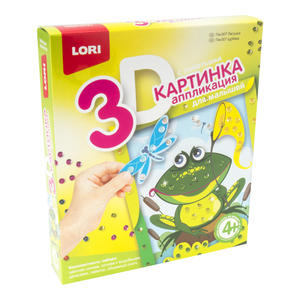 """Картинка 3D.Аппликация для малышей с пайетками """"Лягушка"""", арт.Пм-007 фото"""