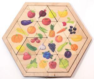 """Пазл деревянный """"Овощи, фрукты, ягоды"""" (Занимательные треугольники), арт.00778 фото"""