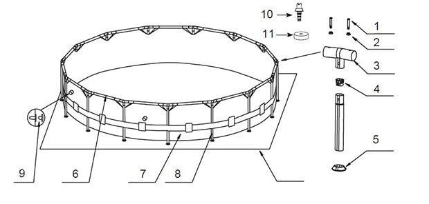 Схема конструкции стержневого каркасного бассейна