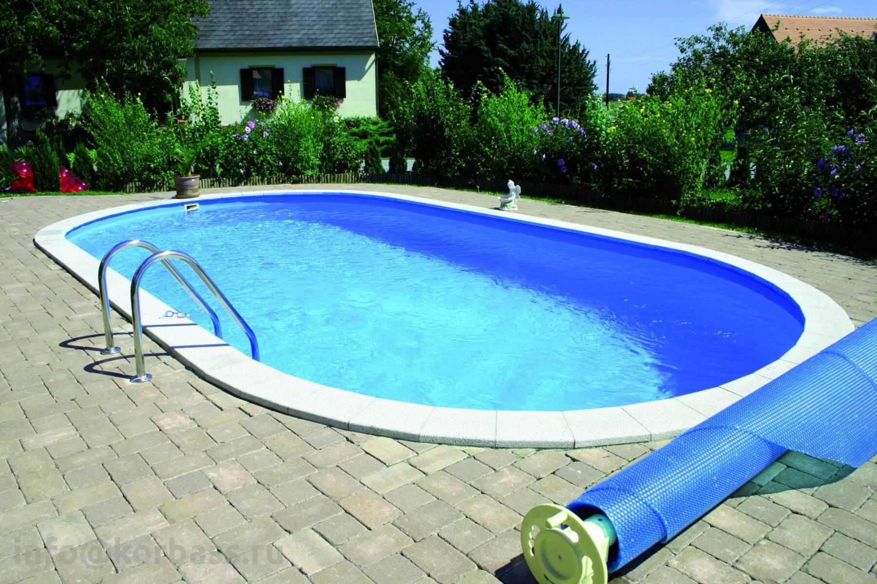 Овальный листовой бассейн с заглублением