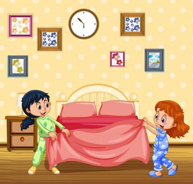 ребенок сам заправит постель